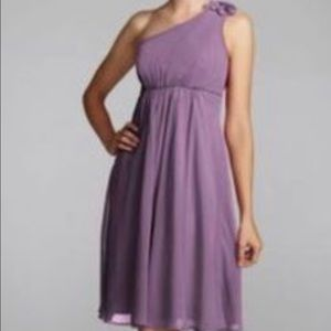 David's bridal chiffon one shoulder dress purple